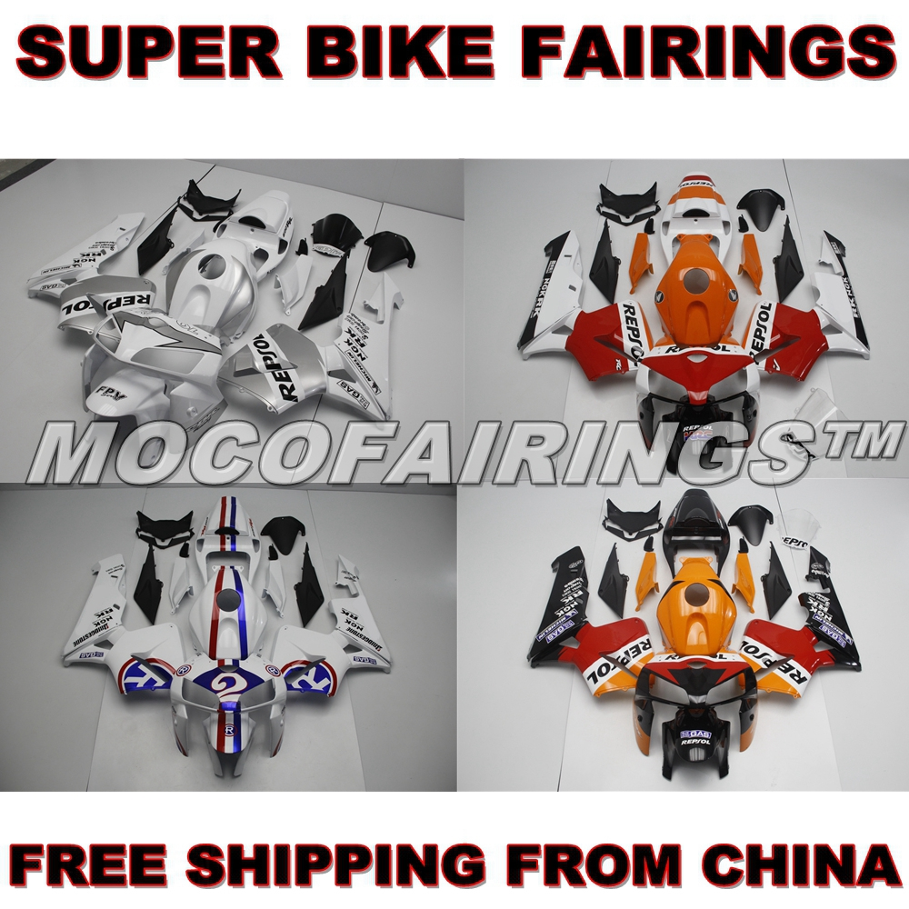 Motorcycle Complete ABS Fairings Kit For Honda CBR600RR F5 2005 2006 Fairing Kits REPSOL ORANGE & SILVER 05 06 CBR600 RR custom injection factory motorcycle fairings parts for 2005 2006 honda f5 cbr 600 rr cbr600rr 05 06 white repsol fairing bodyits