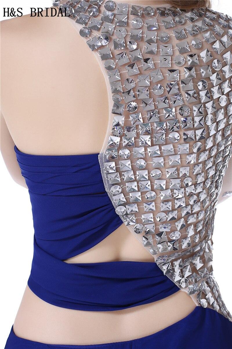 H & S DA SPOSA Una Spalla Manica Lunga vestito da sera del partito Cristalli In Rilievo lungo Chiffon abiti da sera con maniche vestido longo - 6