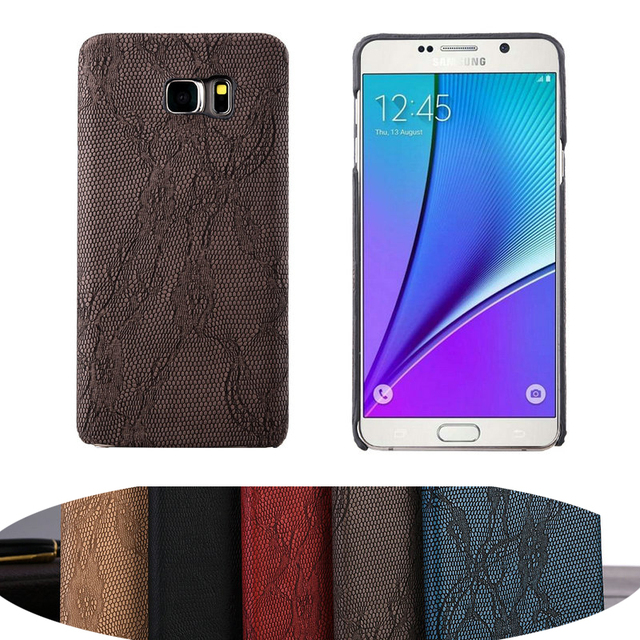 cb6e1d113bd Para Samsung Galaxy note5 moda Niñas Encaje funda Ropa interior tipo  cubierta caso patrón de personalidad