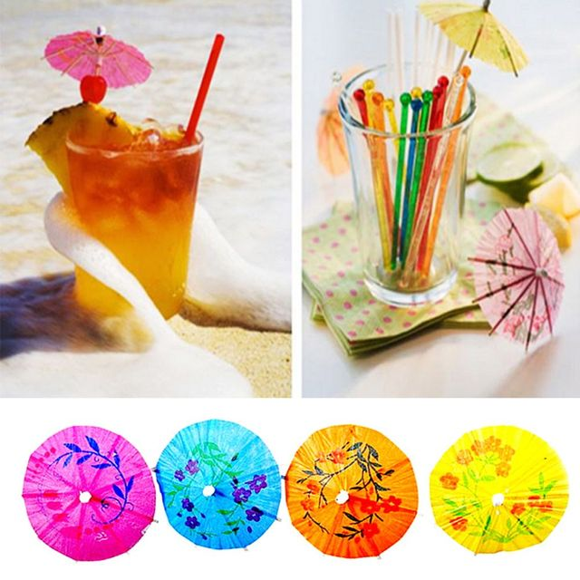 50 stücke Farbe Zufällig Regenschirme Obst Zahnstocher Papier ...