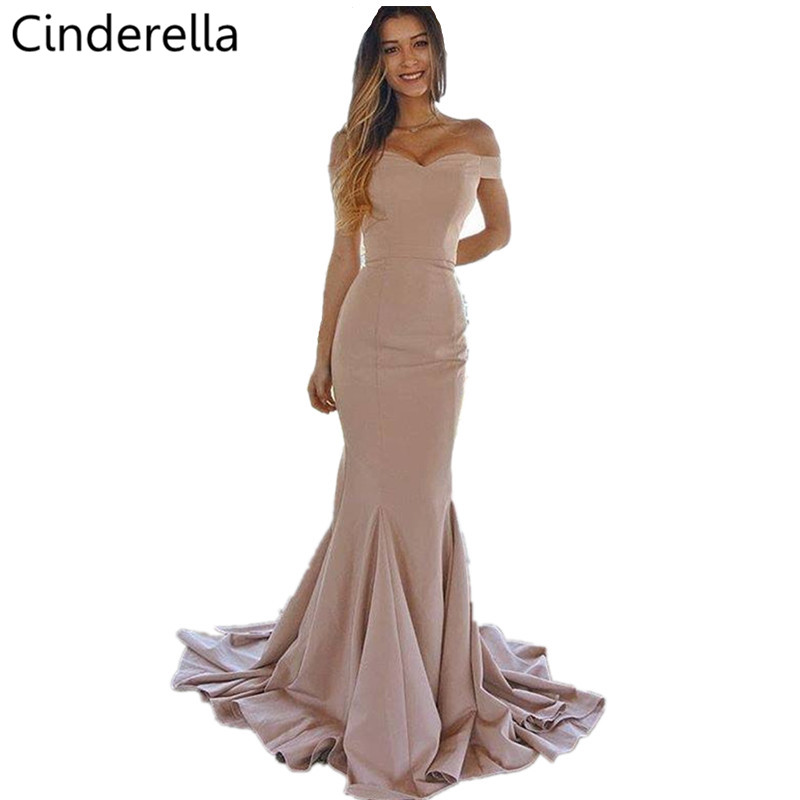 Cinderella Pink Sweetheart Off The Shouder Mermaid   Bridesmaid     Dresses   Cheap Zipper Back Trumpet Satin Fabric   Bridesmaid   Gowns