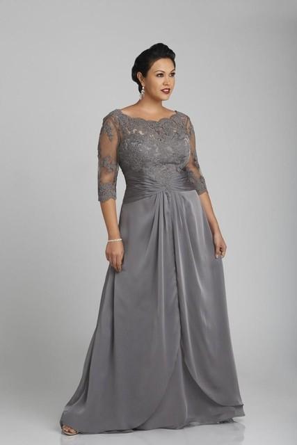 Rendas Cinza Plus Size Pescoço Da Colher Mãe Dos vestidos de Noivo Vestidos de noiva Custom Made Wedding Guest Vestidos Vestidos de Noite Com Meia mangas