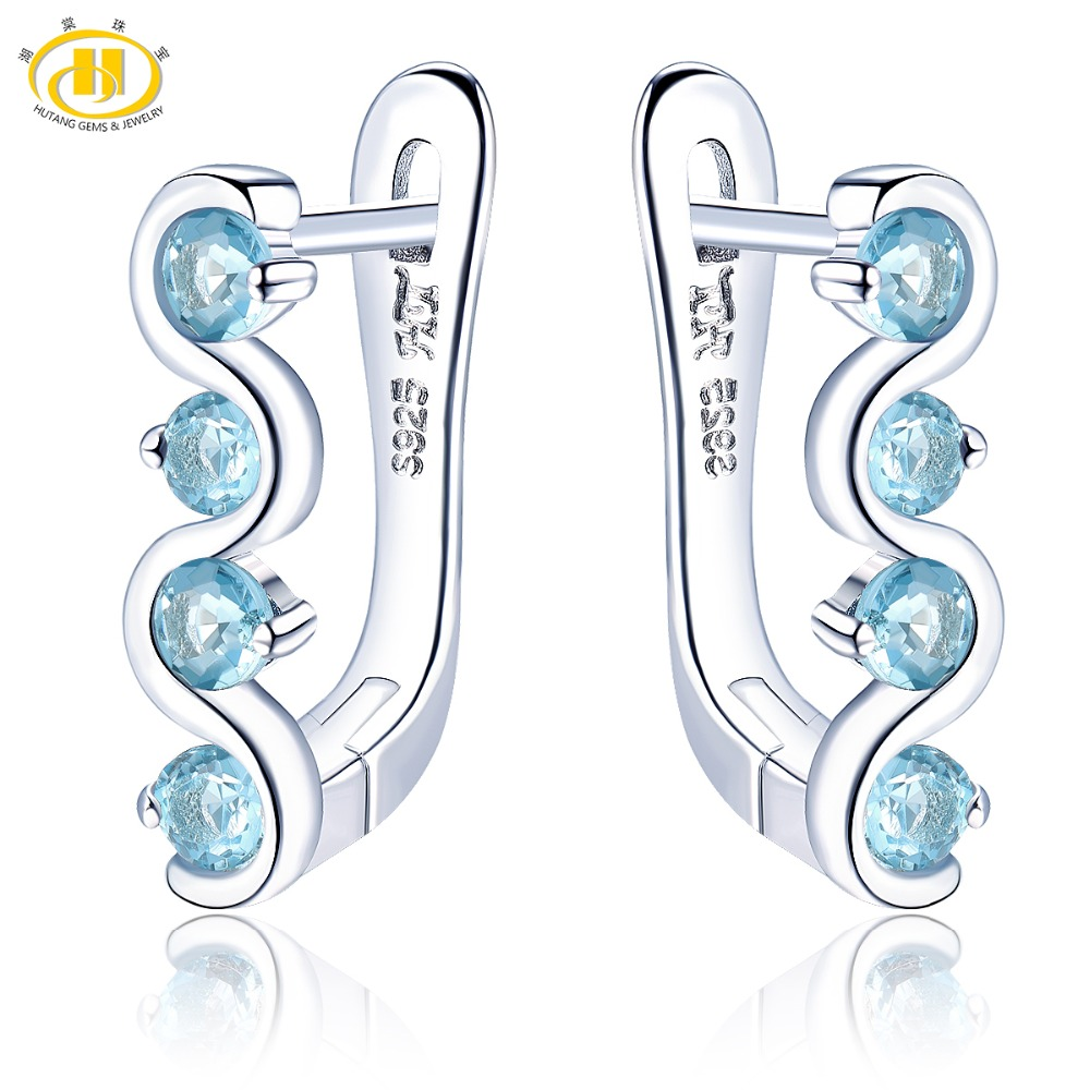 Hutang Blue Topaz Clip Earrings Natural Gemstone Solid 925 Sterling Silver Fine Fashion Stone Jewelry For Women's Best Gift New