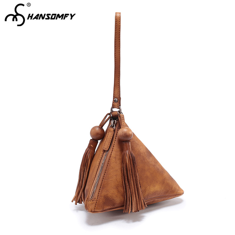 цены Women Handbags Retro casual fashion first layer cowhide leather triangle bag female portable bag mobile phone handmade handbags