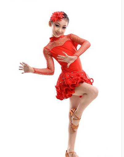 105 165 kid girl Stage performance rumba latin cha cha font b dance b font dress