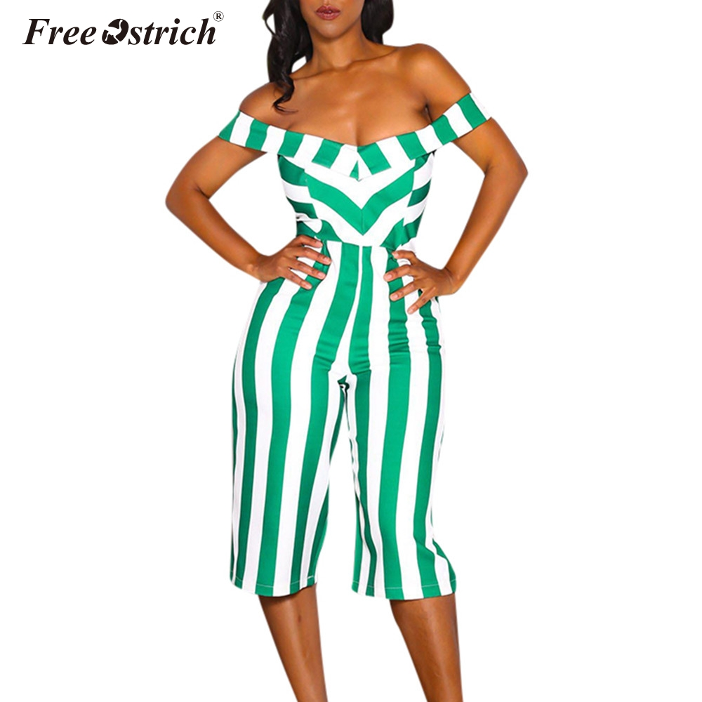 Jumpsuit women summer rompers sexy backless indie striped printed halter strapless wide leg pants jumpsuit n30