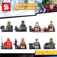8 Pcs STAR WAR Marvel super hero Clone Troopers et Rouge Garde action figure briques bébé enfants enfants jouets