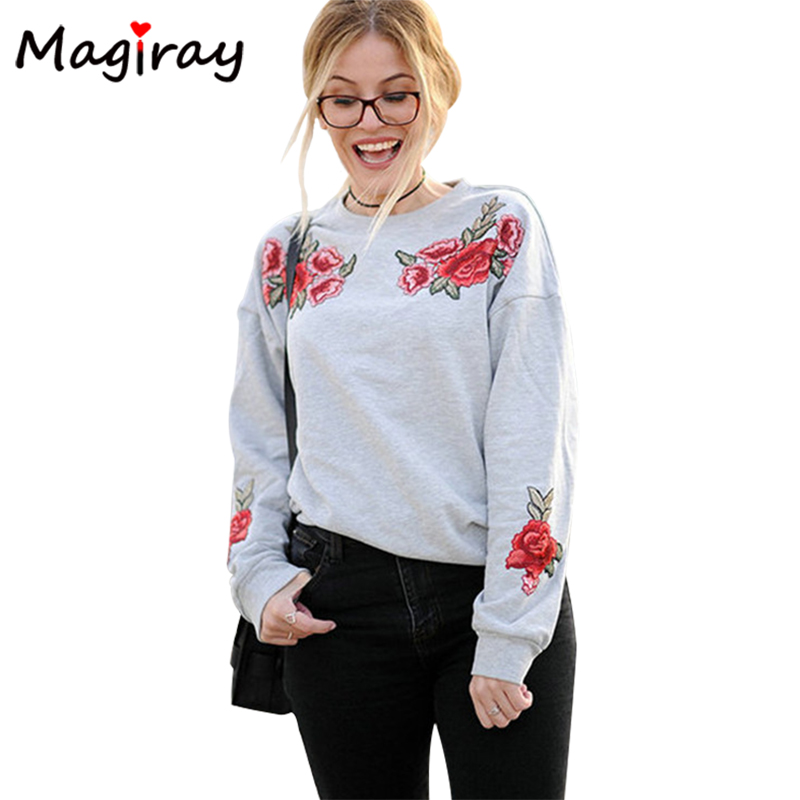 Magiray Floral Rose Embroidered Women Hoodies Sweatshirt 2018 Long Sleeve Pullover Jumper Grey Loose Fashion Female Hoodies C44