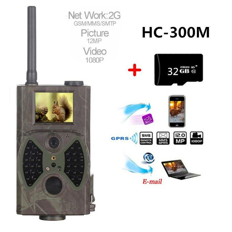HC-300M Hunting Trail Camera Full HD 12MP 1080P Video Night Vision MMS GPRS Scouting Infrared Game Hunter Camera 2G suntek hunting trail camera hc 300m hc350m full hd 12mp 1080p video night vision mms gprs scouting infrared trail camera