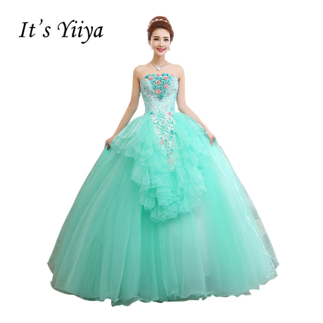 Free Shipping Strapless Flowers Light Green Wedding Dresses Tulle Floor Length Bride Ball Gowns Vestidos De