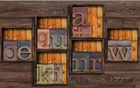 Customize Luxury Wallpaper Retro Wooden Frame Alphabet 3d Wall Murals Wallpaper Home Decor Living Room Wallpaper