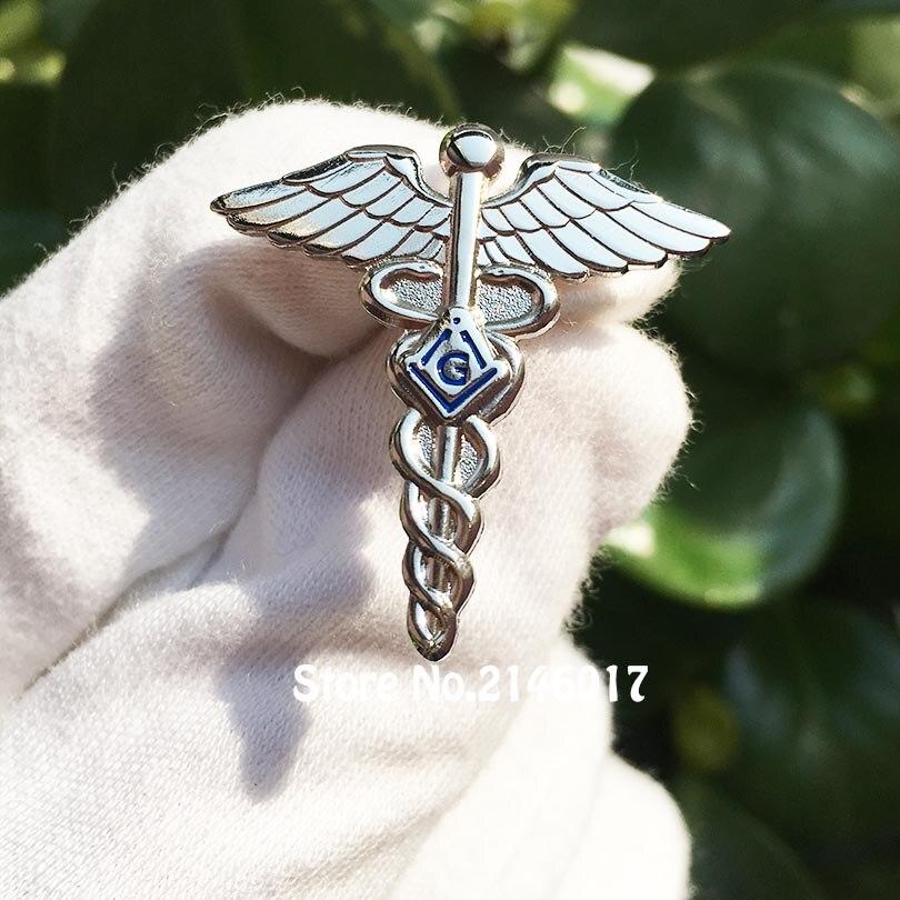 50 sztuk srebrny kolor Mason odznaka niestandardowe masoński klapy Pin masonem Lodge lekarzem szpilki i broszka murarskie skrzydła i wąż symbol w Przypinki i odznaki od Dom i ogród na  Grupa 1