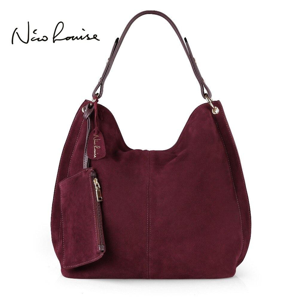 Nico Louise Women Real Split Suede Leather Hobo Bag Design Female Leisure Large Shoulder Bags With Wallet Travel Casual Handbag шорты мужские lasting 6262 nico