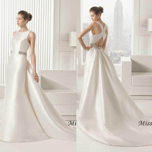 Beaded Sheath Satin Wedding Dress