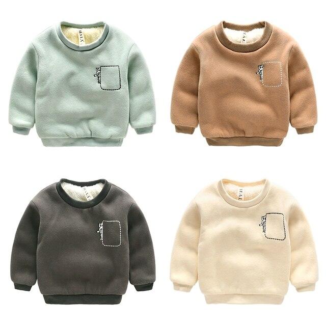 Boy ropa de los muchachos sudadera pullover top engrosamiento de invierno de terciopelo superior prendas de vestir exteriores de ropa para niños