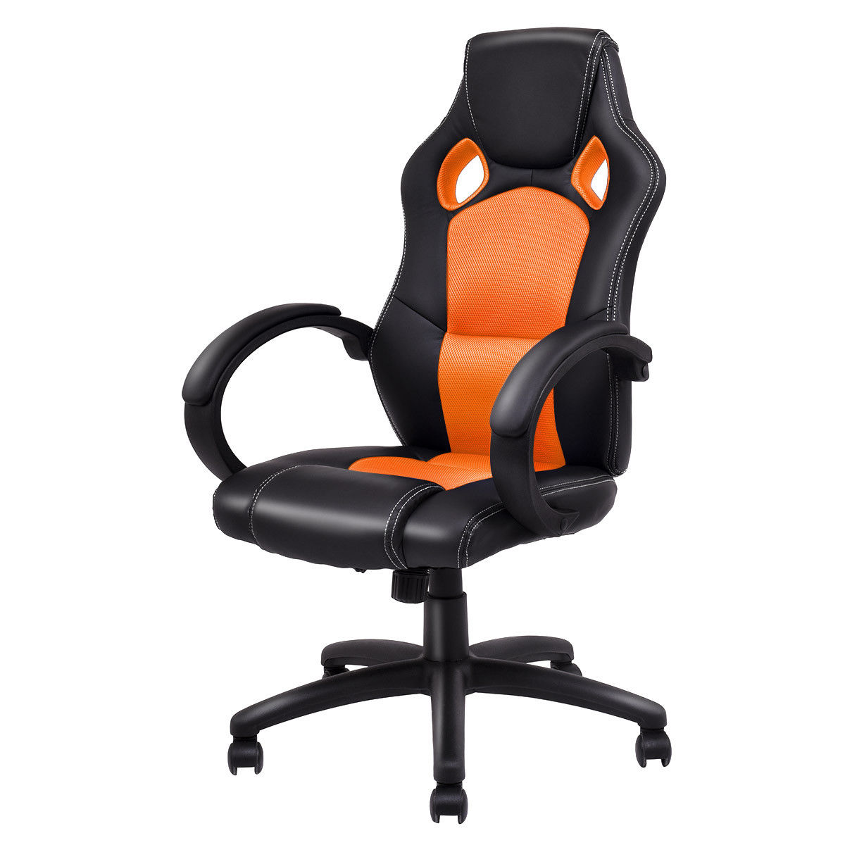 цены Giantex High Back Racing Chair Modern Ergonomic Bucket Seat Office Desk Gaming Chair Swivel Executive Armchairs HW54590OR