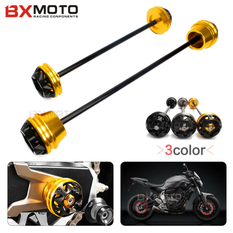 ФОТО For Yamaha MT07 FZ07 2013~2016 Motorcycle accessories Front and Rear Wheel Axle Fork Crash Frame Sliders Falling Protector Gold