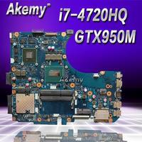 Akemy N551JX Motherboard MB._/i7 4720HQ /AS GTX 950M 4G For ASUS N551JX N551JW N551JB N551JQ Laptop Mainboard