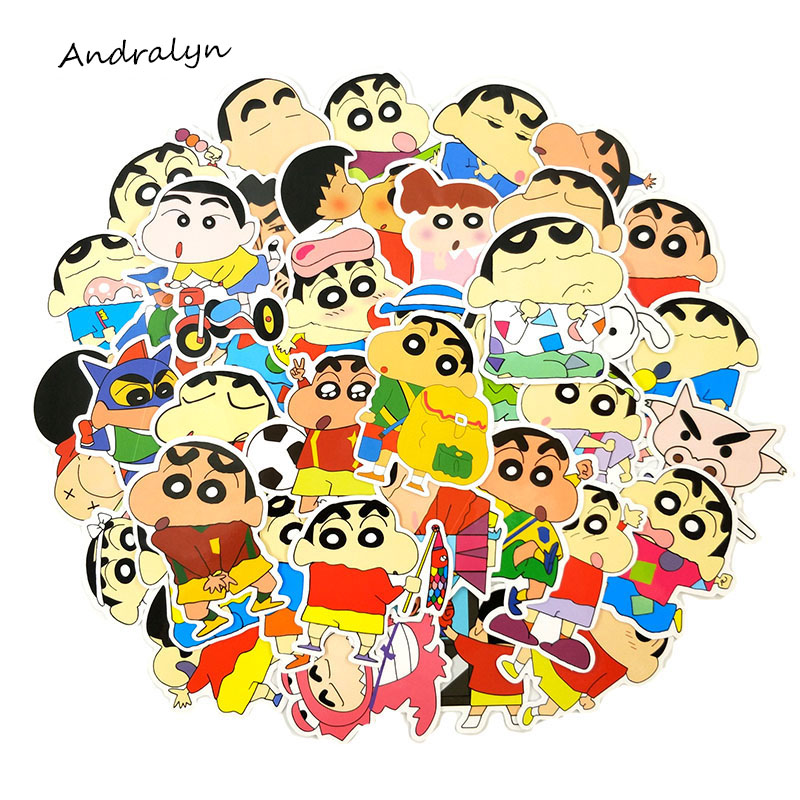 50Pcs/Set Crayon Shin-chan Decorative Sticker Cartoons Sticker For Laptop Guitar Motocycle Luggage Skateboard Doodle Decor Toy