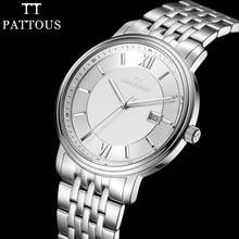 PATTOUS Мужские Часы Марки Полностью Из Нержавеющей Стали Отображения Даты Водонепроницаемый Лучшее Платье Часы Подарки Приятно Наручные Часы для Мужчин