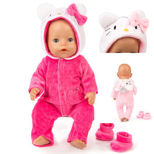 2pcs/set Suit+Shoes Dolls Outfit For 17 inch 43cm Baby Doll Cute Jumpers Rompers Doll Clothes(China)