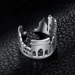 Image 3 - JewelryPalace 925 пробы серебро Винтаж World Travel сувенир Мрамор арки регулируемое Открытое кольцо Новая горячая Распродажа как красивый подарок