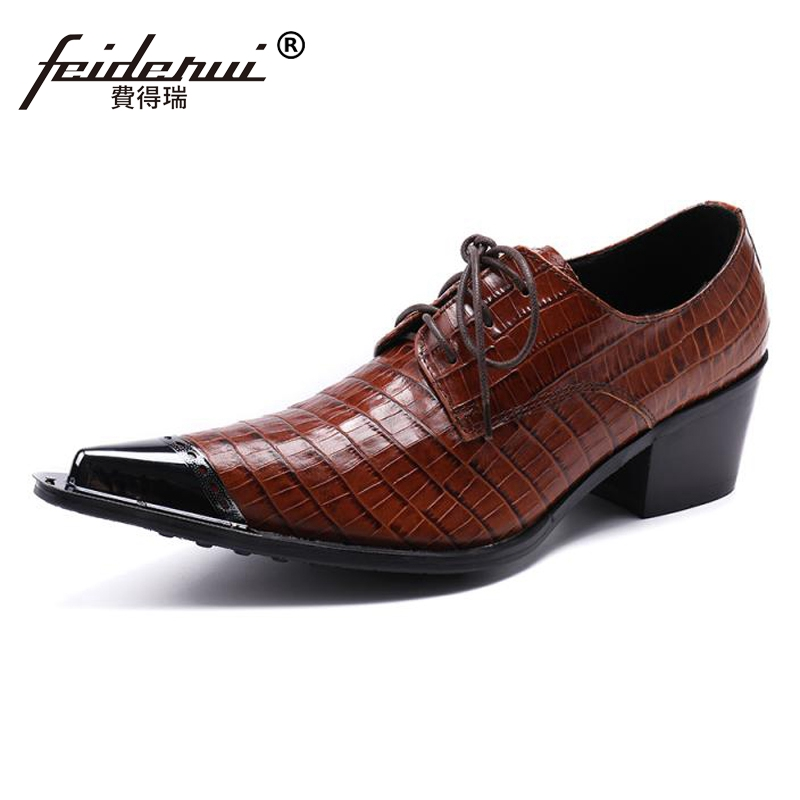 Plus Size Brown New Vintage Pointed Toe Lace up Man Party Oxfords Genuine Leather High Heels Runway Party Men's Derby Shoes SL79 front lace up casual ankle boots autumn vintage brown new booties flat genuine leather suede shoes round toe fall female fashion