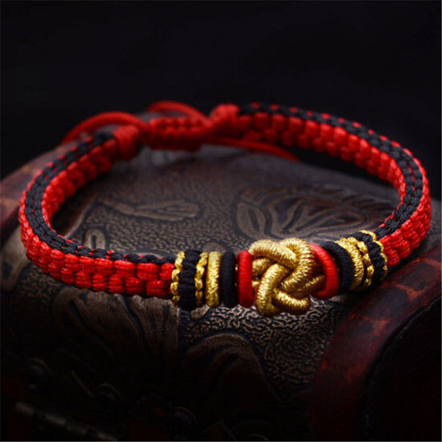 Hand knitted Bracelet Folk Wind Red Rope Adorned Lovers Love Jewelry Close  Heart Knot Lingering String Wholesale