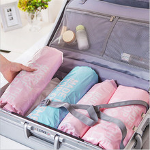 Useful 6pc/set Hand Rolling Vacuum Bags for Clothes Compression Travel Storage Bag Wardrobe Luggage Organization