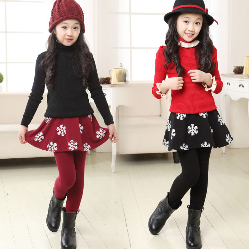 Girls Skirt Leggings Children Velvet Warm Pants Gilrs Leggings Snow Flower Skirt-Pants Kids Leggin Winter Clothes Trousers girls skirt pants 2018 autumn girls leggings with skirt girls dancing clothes children kids trousers pants for girl cake skirt