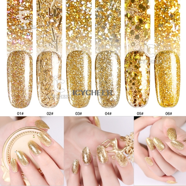 Luxuious Golden Series Nail Art Glitter Dust UV LED Nail Gel Polish ...