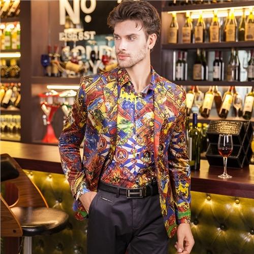 2016 de Lujo Blazers Chaquetas Para Hombre Vestido De Flores de Impresión Digital Trajes Blazers Casuales Para Hombre de Lujo Barroco Del Club Trajes Desgaste de la Etapa