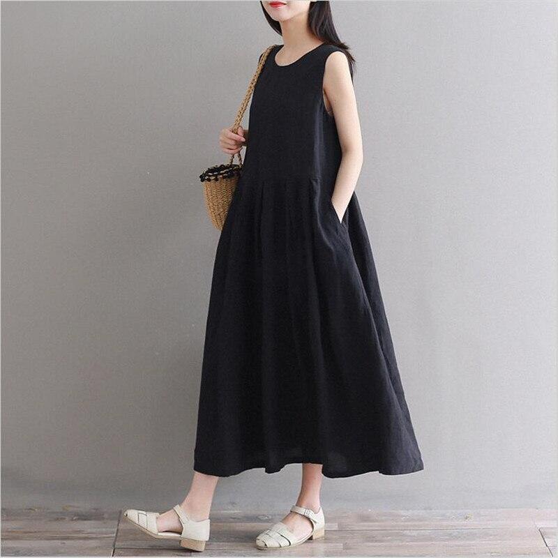 35fa5e262 Cheap Vestido de algodón fino y lino 2019 para mujer verano Casual sin  mangas suelto cómodo