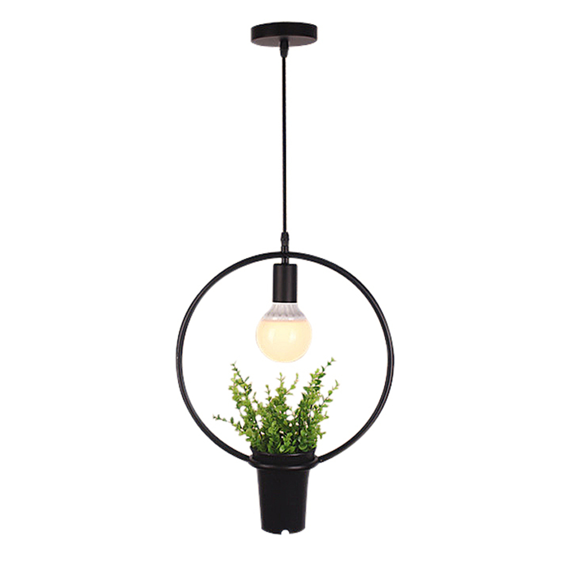 Black Ring Green Plant Hanging Lamps Retro Industrial Wind Creative Personality Chandelier Clothing Shop Cafe Restaurant Light