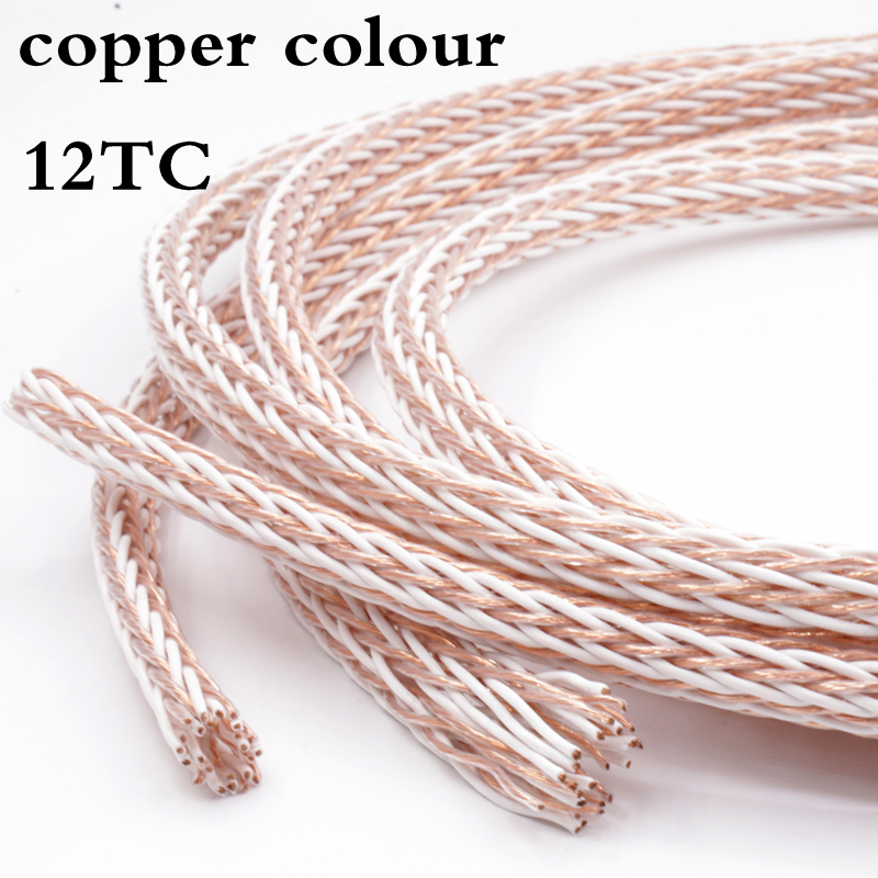 Free shipping 5Meter copper colour 12TC OCC Speaker Cable HIFI Audio Wire Power Cord DIY 24 Strands free shipping pair copper colour water hifi professional audio speaker cables