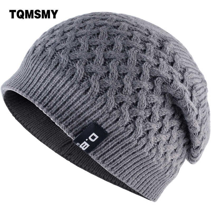 TQMSMY Warm Men Beanie Caps teenager Winter Hats For Man Knitted Beanies Hat  Mesh Gorra Bonnet 34283c27436b
