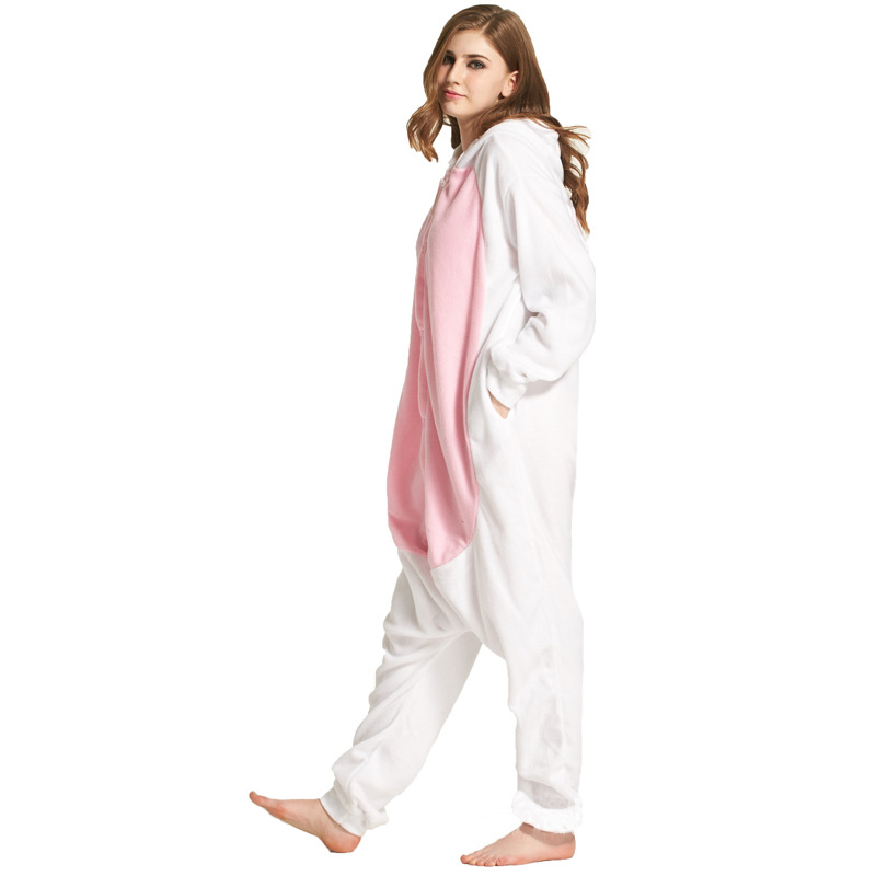 bd54ff403e7c Cartoon Lovely Rabbit Pajamas Set Animal Adult Sleep Pijama Cosplay  Kigurumi Onesie Women Men Autumn Winter Overall Homewear-in Pajama Sets  from Underwear ...