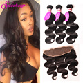 Peruvian Virgin Hair With Frontal Closure Body Wave Ear To Ear Lace Frontal Closure With Bundles Pre Plucked Frontal Closure