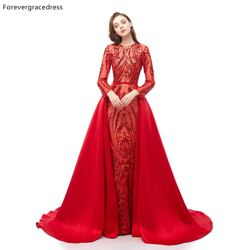 Forevergracedress Red   Prom     Dresses   Detachable Train Long Sleeves Holidays Graduation Wear Party Gowns Plus Size Custom Made