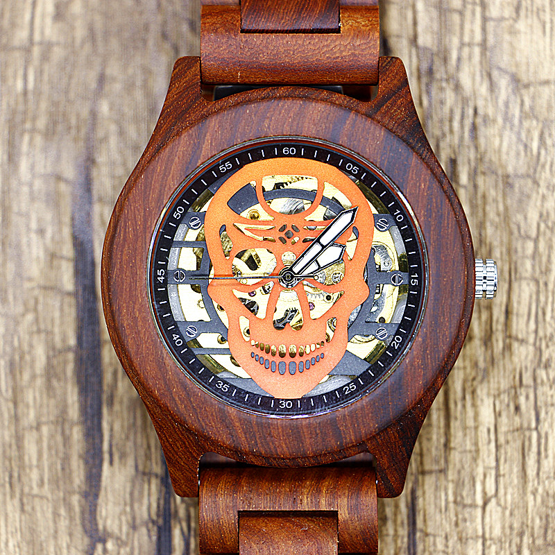 Fashion Mens Wooden Watch Skull Hollow Dial Automatic Mechanical Watches Man Wooden Band Outdoor Wristwatch Men's Gift t winner automatic watch mens trendy mechanical auto windding silicone band wristwatches modern elegant analog hollow clock gift