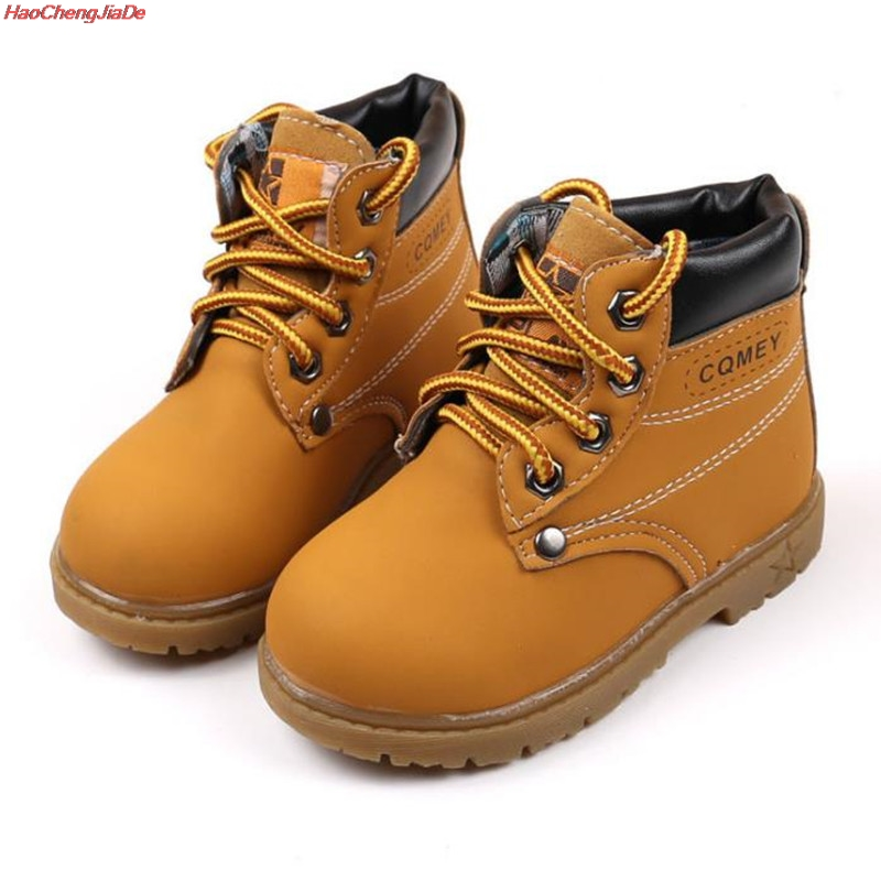 купить HaoChengJiaDe Children Snow Boots Shoes For Girls Boys Boots Fashion Soft Bottom Baby Girls Boot 21-30 Autumn Winter Kids Boots онлайн