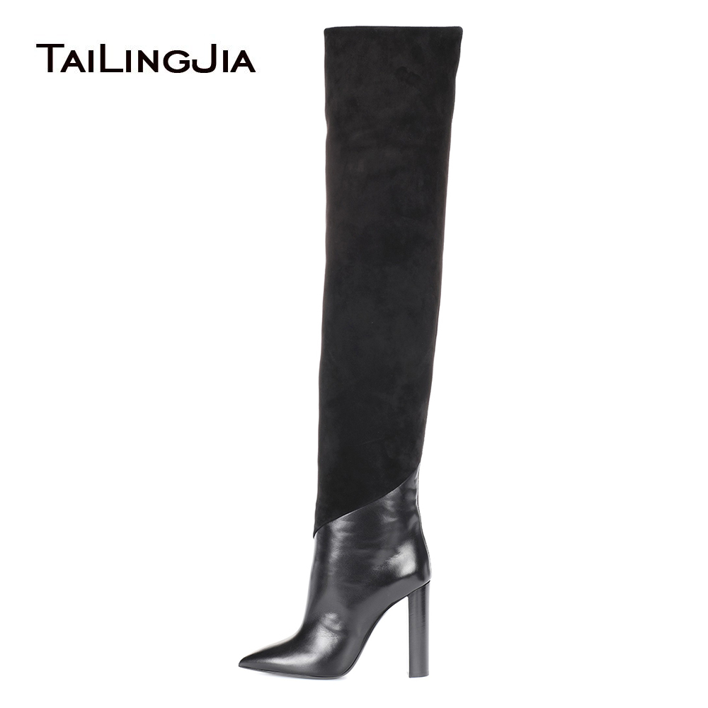 Women Chunky High Heel Pointed Toe Black Over The Knee High Boots Slip on Pointy Long Boots Ladies Winter Stylish Heels Shoes enmayer fashion over knee high boots women bukle high heels long boots sexy pointed toe slip on boots leather winter shoes