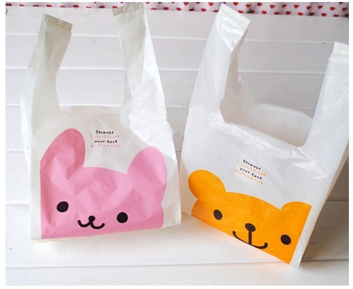 Small size 28*15cm Mini cute pink bunny yellow Winnie Maga plastic  bag with handle for jewelry carry bag  vest bag 100pcs/lot
