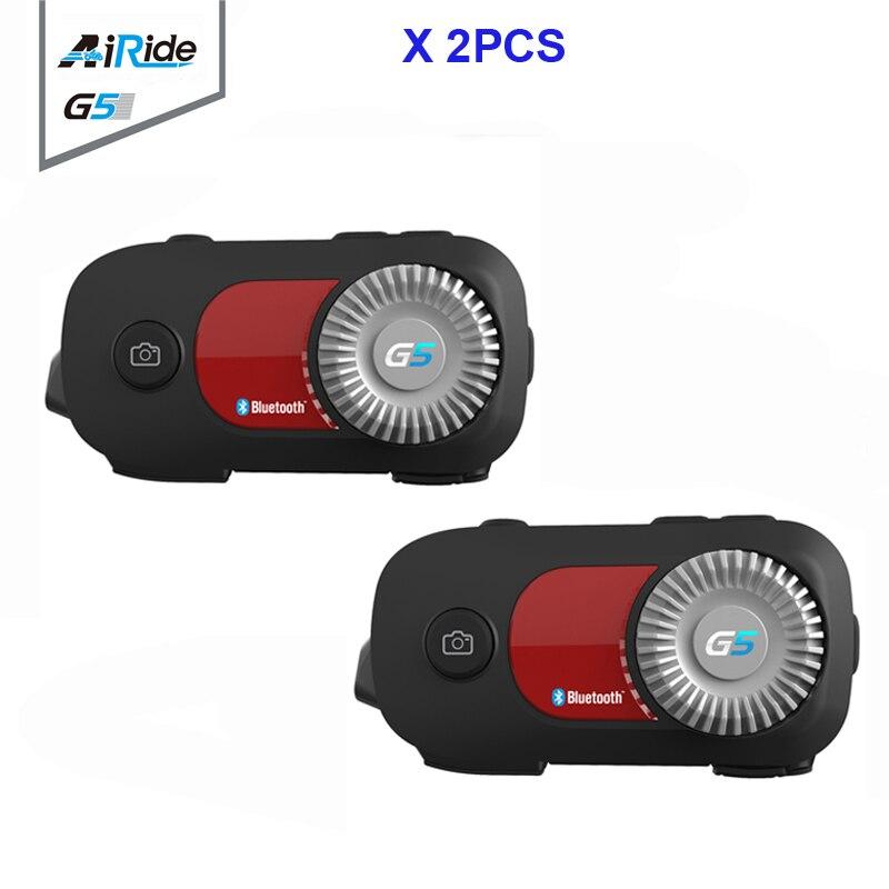 2PCS AiRide G5 500m 4 Riders Group Intercom 1080P Video Recorder Camera Motorcycle Bluetooth Helmet Headset