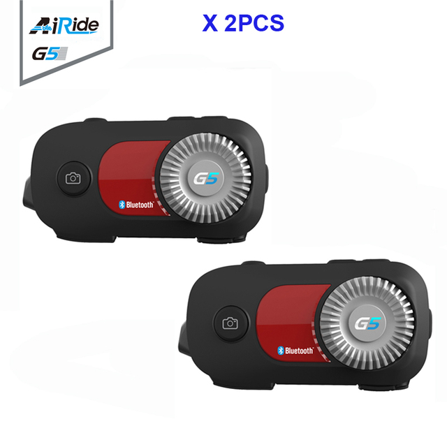 2PCS AiRide G5 500m 4 Riders Group Intercom 1080P Video Recorder Camera Motorcycle Bluetooth Helmet Headset For Full Face Helmet