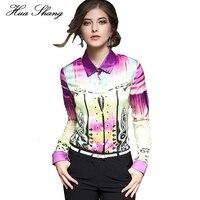 2016 Women Fashion Long Sleeve Print Chiffon Blouse Turn Down Collor Ladies Business Office Formal Shirts
