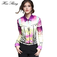 2016 Women Fashion Long Sleeve Print Chiffon Blouse Turn Down Collor Ladies Business Office Formal Shirts Women Summer Tops