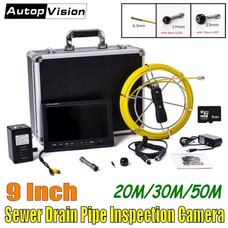 Système gratuit de caméra d'inspection de tuyau d'égout de câble de fibre de verre de DHL 20-50 M avec le moniteur de 9 pouces 6.5mm/17mm/23mm Endoscope WP90 de canalisation