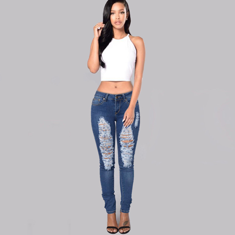 Sexy Hole Ripped Jeans for Women Skinny Pencil Jeans Denim Elastic Pants Trousers Low Waist Boyfriend Jeans para mujeres P45 elastic skinny pencil jeans for women