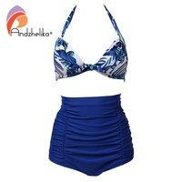 Andzhelika Plus Size Swimwear Women Retro Blue Floral Halter High Waist Bikini Carnival Swimsuit L 5XL